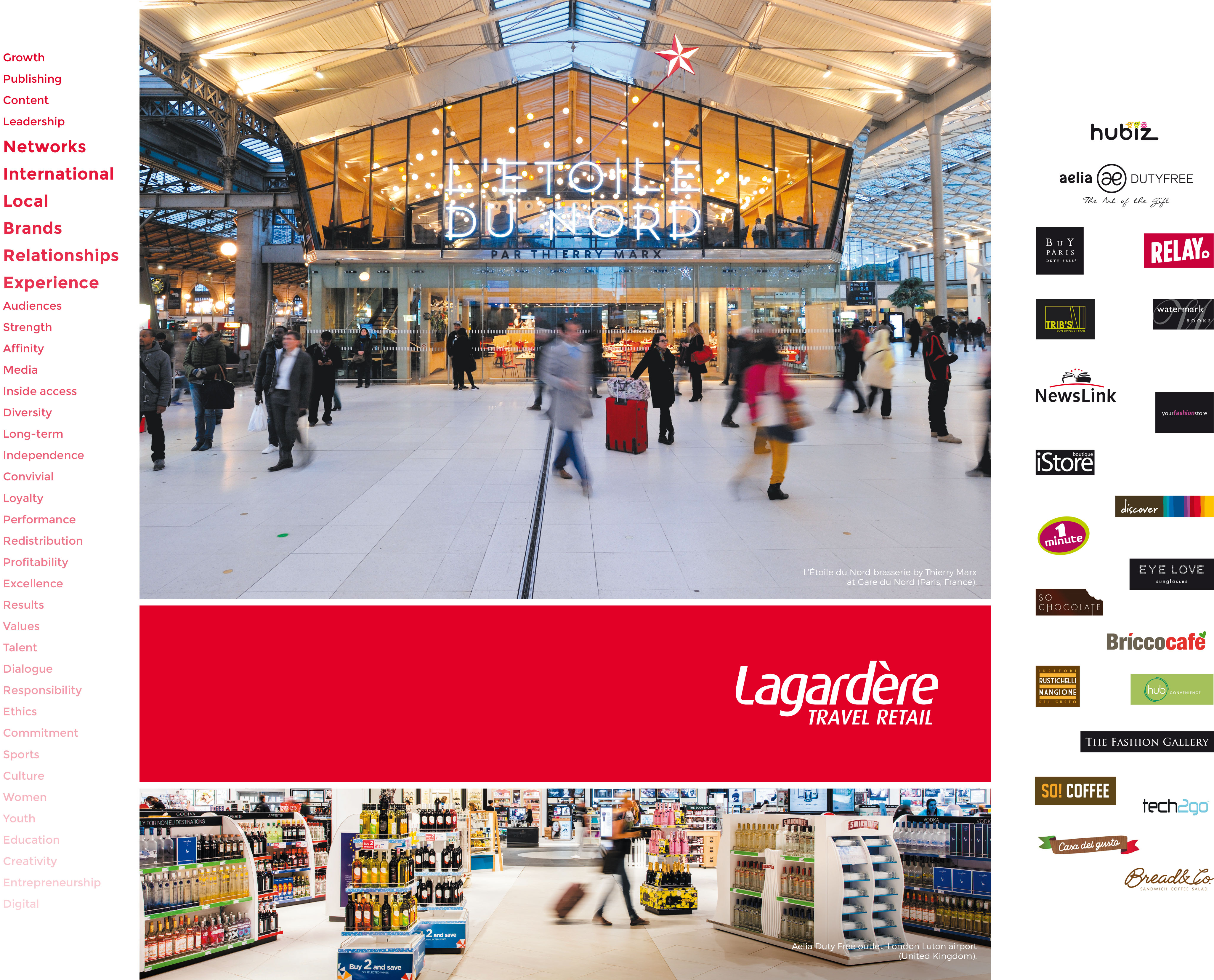 Lagardère Travel Retail - Above: L'Étoile du Nord brasserie by Thierry Marx at Gare du Nord (Paris, France) - Below: Aelia Duty Free outlet, London Luton airport (United Kingdom)