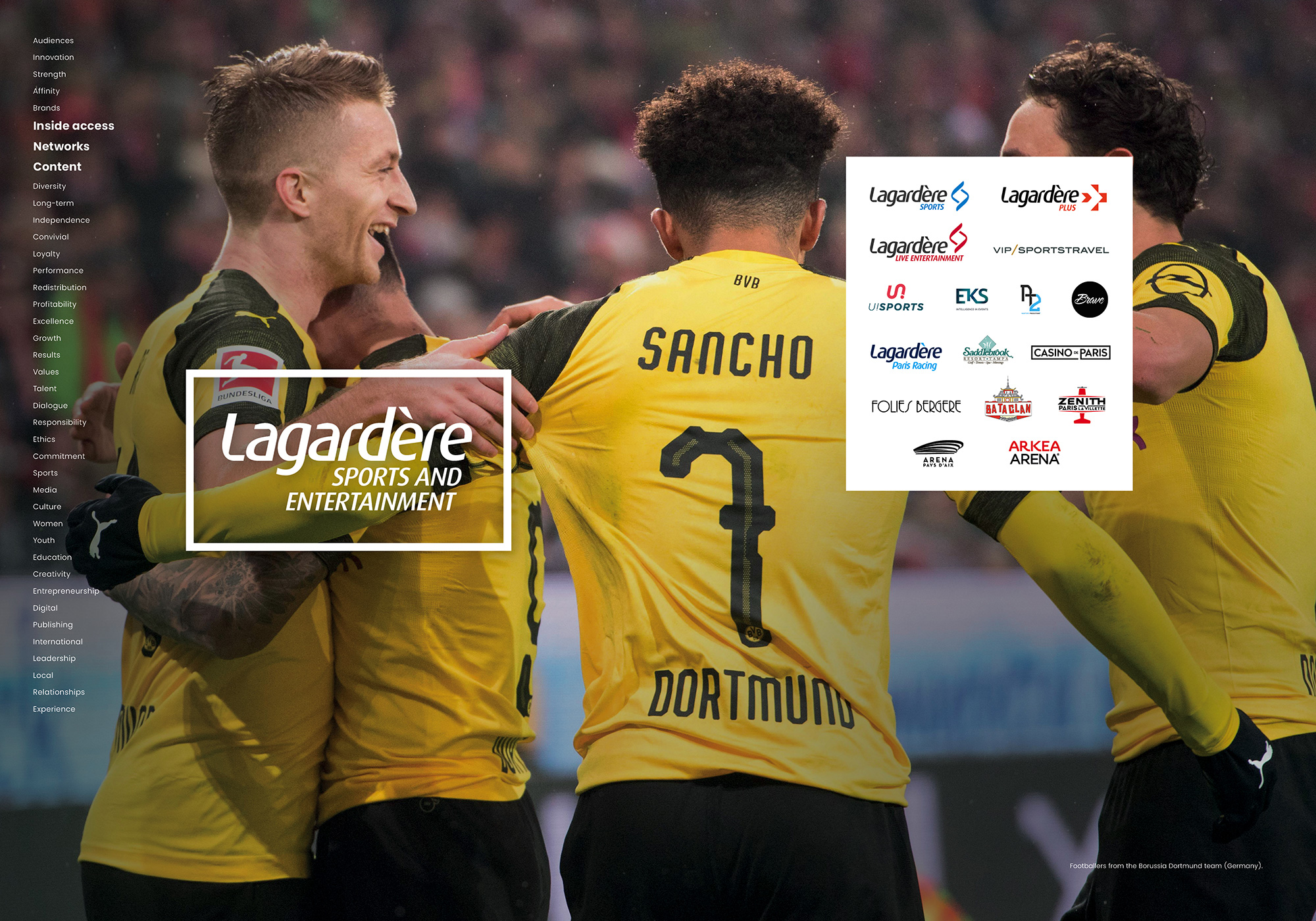 Lagardère Sports and Entertainment – Soccer Players from the Borussia Dortmund team (Germany).