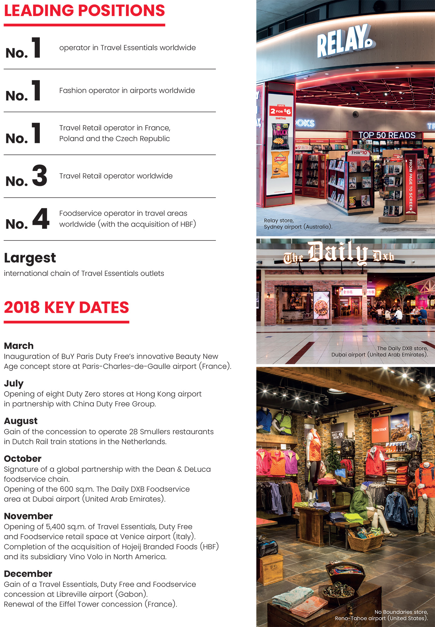 Lagardère Travel Retail: leading positions and key dates 2018