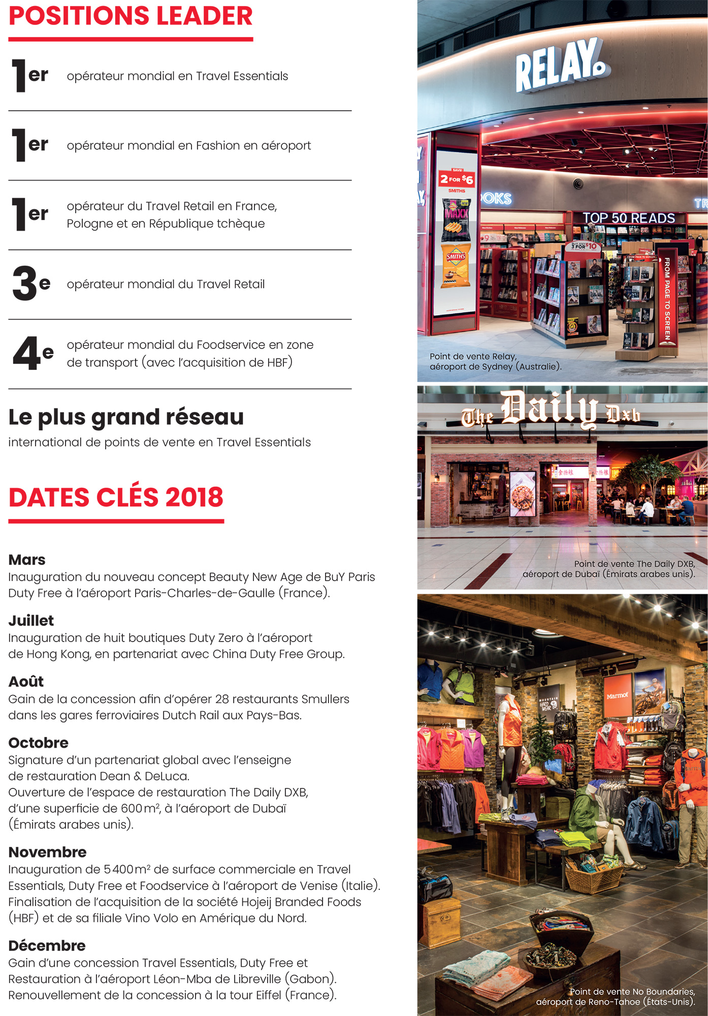 Lagardère Travel Retail : positions leader et dates clés 2018
