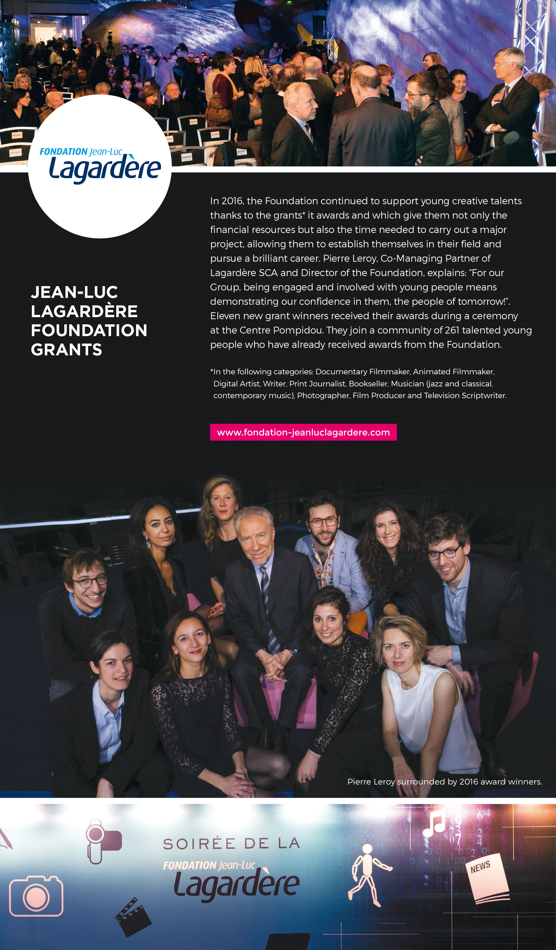 Jean-Luc Lagardère Foundation grants: Pierre Leroy surrounded by 2016 award winners