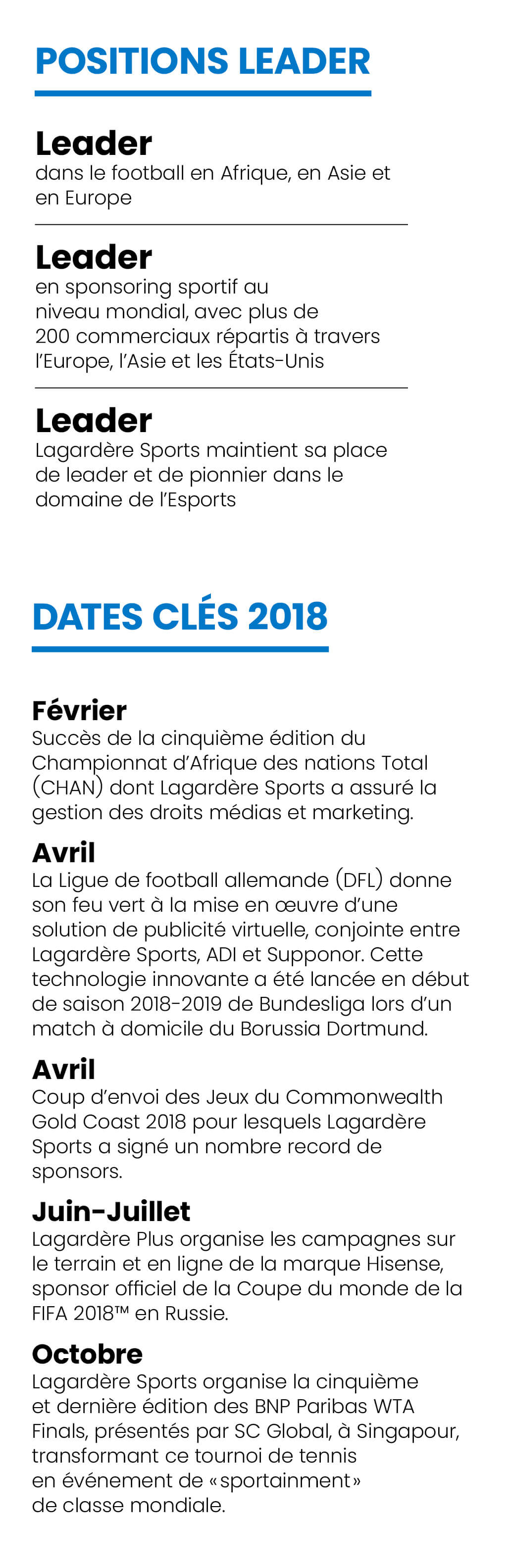Lagardère Sports and Entertainment : Tableau de bord 2018
